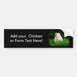 Weißes Huhn im grünen Gras Autoaufkleber