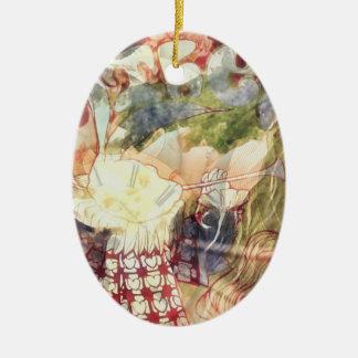 Weißes Kaninchen -- Surreal Alice im Wunderland Keramik Ornament