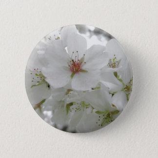 Weißes Kirschblüten-Foto Runder Button 5,1 Cm