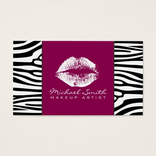 Weißes Lippenmake-up Artis moderne Zebra-Haut #17 Visitenkarte
