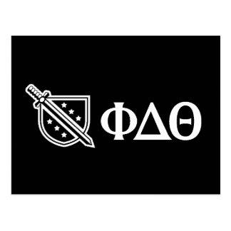 Weißes Logo und Buchstaben Postkarte