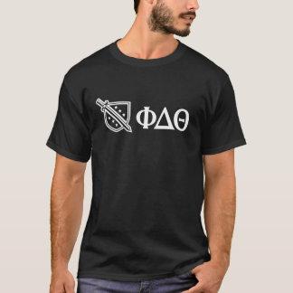 Weißes Logo und Buchstaben T-Shirt