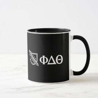 Weißes Logo und Buchstaben Tasse