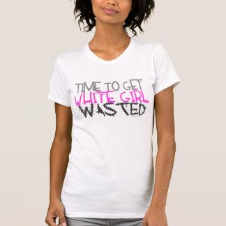 Weißes Mädchen vergeudeter Behälter T-Shirt