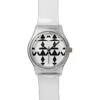 Weißes minimales Stammes- Uhr