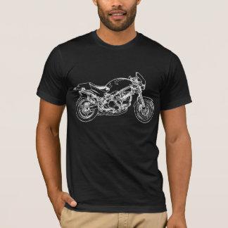Weißes Motorrad-Zeichnen T-Shirt
