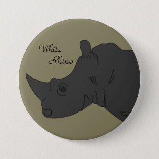 """Weißes Nashorn 3"""" Knopf Runder Button 7,6 Cm"""