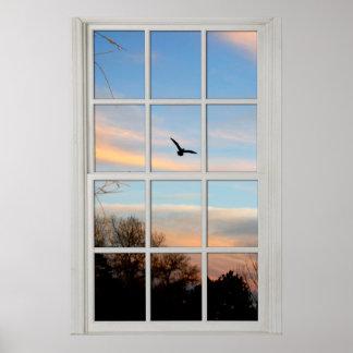 Weißes Paned Fenster mit einer Ansicht-Illusion Poster