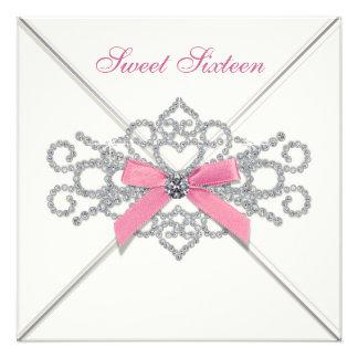 Weißes Party des Diamant-Rosa-Bonbon-16 Ankündigung