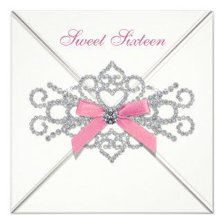 Weißes Party des Diamant-Rosa-Bonbon-16 Quadratische 13,3 Cm Einladungskarte