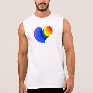 """Weißes Party-""""Regenbogen-Herz-"""" T-Stück Ärmelloses Shirt"""