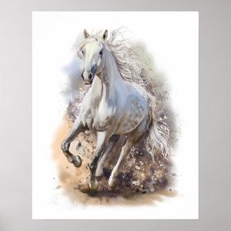 Weißes Pferdegalopp-Plakat Poster