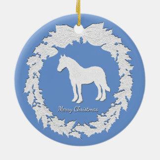 Weißes PferdeKranz personifizieren Farbtext Rundes Keramik Ornament