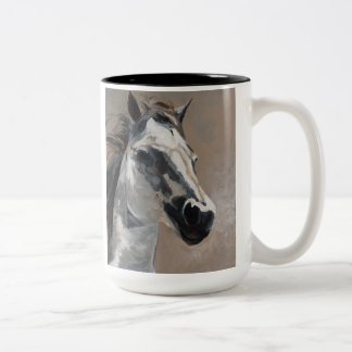 Weißes PferdeTasse Zweifarbige Tasse