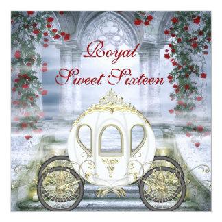 Weißes Prinzessin Carriage Enchanted Sweet 16 Quadratische 13,3 Cm Einladungskarte