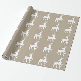 Weißes Rotwild-Silhouette-Muster auf Beige Geschenkpapier