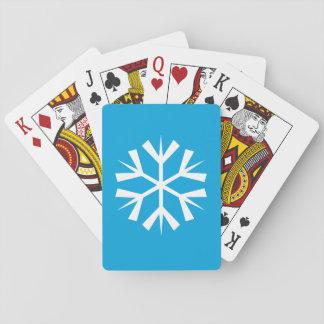 Weißes Schneeflocke-Symbol auf blauem Hintergrund Pokerkarte