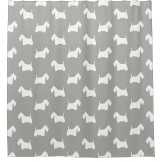 Weißes schottisches Terrier-Silhouette-Muster Duschvorhang