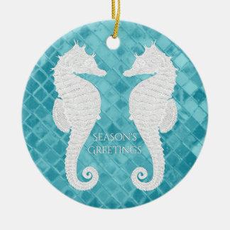Weißes Seepferd-Aqua-Seeglas personifizieren Keramik Ornament