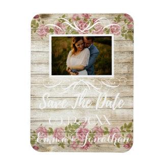 Weißes Skript der Rosen-Schablone Save the Date Magnet
