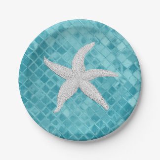 Weißes Starfish-Aqua-Seeglas Personailize Pappteller