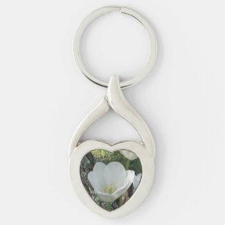 Weißes Tulpe-Blumen-Trio Silberfarbener Herz Schlüsselanhänger