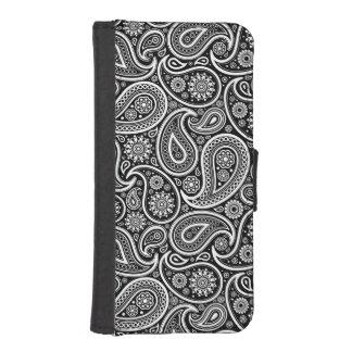 Weißes u. schwarzes Vintages Paisley-Muster iPhone 5 Geldbeutel