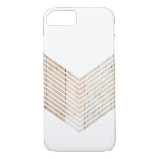 Weißes unbedeutendes Zickzack mit Holz iPhone 8/7 Hülle