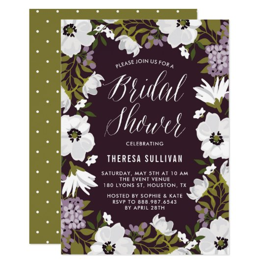 Weißes und lila Anemonenwreath-Brautparty 12,7 X 17,8 Cm Einladungskarte