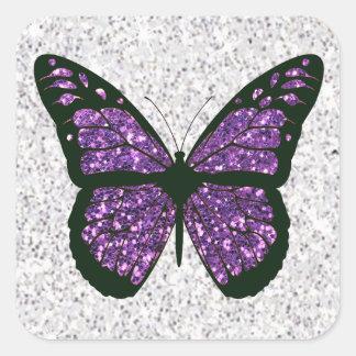 Weißes und lila Imitat-Glittery Schmetterling Quadratischer Aufkleber