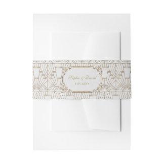 Weißes Wedding Goldgroße Gatsby Einladungsbanderole
