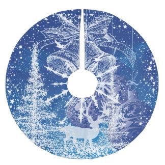 Weißes Weihnachten Bell u. Baum-Blau-Hintergrund Polyester Weihnachtsbaumdecke
