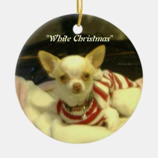 """""""Weißes Weihnachts"""" Chihuahua-Baum-Verzierung Keramik Ornament"""