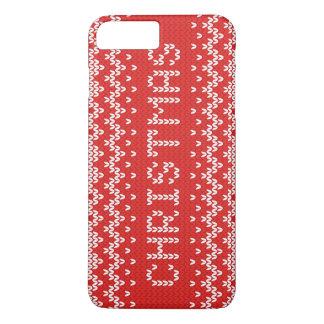 Weißes Weihnachtsabstraktes gestricktes Muster iPhone 7 Plus Hülle