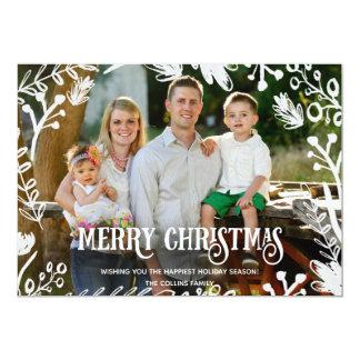 Weißes Weihnachtsvolles Foto-horizontale Karte