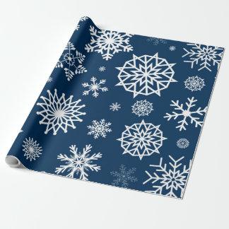Weißes Winter-Schneeflocke-Marine-Blau-weißes Geschenkpapier