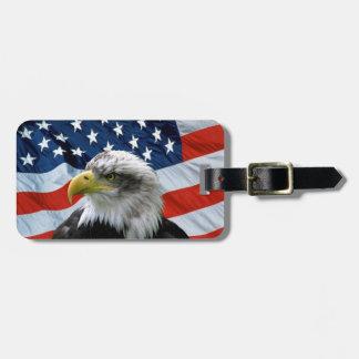 Weißkopfseeadler-amerikanische Flagge Gepäckanhänger