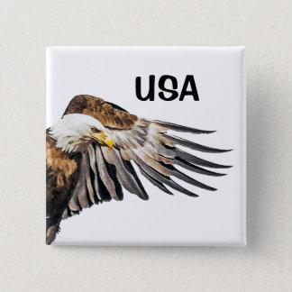 Weißkopfseeadler auf dem Flügel Quadratischer Button 5,1 Cm