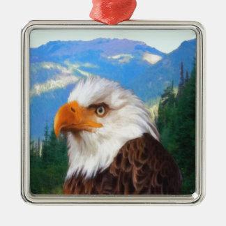 Weißkopfseeadler-erstklassige quadratische silbernes ornament