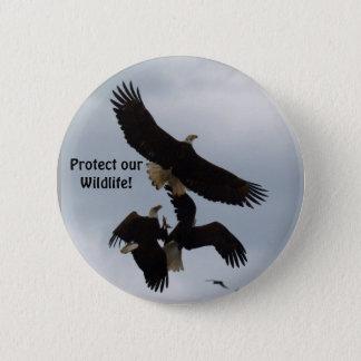 Weißkopfseeadler-Flug-Fotografie-Reihen-Knöpfe Runder Button 5,7 Cm