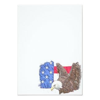 Weißkopfseeadler mit der amerikanischen Flagge Karte
