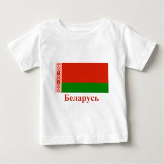 Weißrussland-Flagge mit Namen auf belarussisch Baby T-shirt