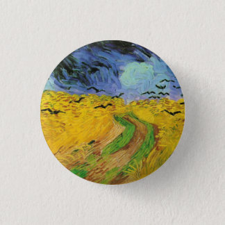 Weizen-Feld mit Krähen Runder Button 3,2 Cm