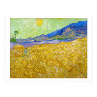 Weizen-Felder mit Sensenmann am Sonnenaufgang Van Postkarte