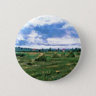 Weizen-Felder mit Stapeln, Vincent van Gogh Runder Button 5,1 Cm