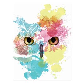 Wellcoda Fantasie-Tiereulen-schönes Auge Postkarte