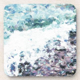 Wellen hüllen am Ufer - Malerei - Kunstgeschenk - Getränkeuntersetzer