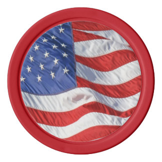 Wellenartig bewegende amerikanische Flagge Pokerchips