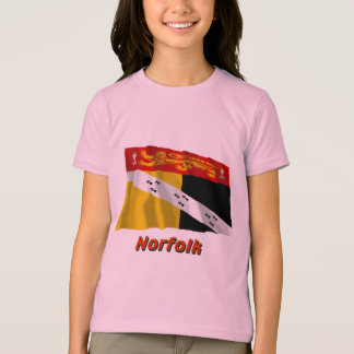 Wellenartig bewegende Flagge Norfolks mit Namen T-Shirt