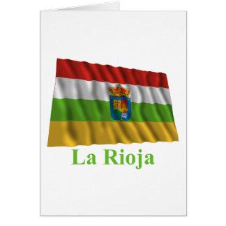 Wellenartig bewegende Flagge Riojas mit Namen Karte